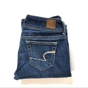 American Eagle Low Rise Distressed Slim Boot Jeans